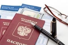Customs declaration with russian travel passport Royalty Free Stock Photo
