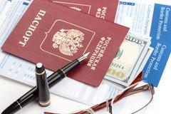 Customs declaration with russian travel passport Stock Image