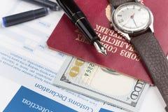 Customs declaration with a travel passport of soviet union Royalty Free Stock Photo