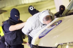 Customs drugs detection. Sofia, Bulgaria - October 27, 2015: Customs officers are participating in a training for drugs detection into smuggler's car in Sofia's Royalty Free Stock Photo
