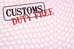 Customs duty free shopping stamps on passport paper, copy space Royalty Free Stock Photography