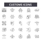 Customs line icons, signs, vector set, outline illustration concept. Customs line icons, signs, vector set, outline concept illustration royalty free illustration