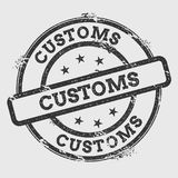 Customs rubber stamp isolated on white background. Grunge round seal with text, ink texture and splatter and blots, vector illustration Royalty Free Stock Photography