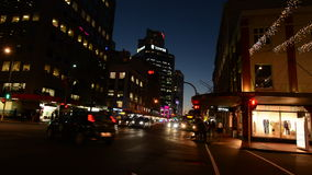 Customs Street in Auckland Downtown at night New Zealand stock footage