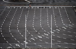Customs terminal area. Ferry terminal asphalt area with marking lines and numbering Stock Photography