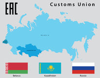 Customs Union. Map and flags of the states that make up the Customs Union (Belarus, Kazakhstan, Russia Stock Photography