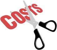 Custos da despesa de negócio do corte das tesouras Fotografia de Stock