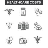 Custos e despesas dos cuidados médicos que mostram o conceito do healt caro Foto de Stock