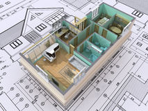 Cut. 3D isometric view the cut residential house on architect�s drawing. Background image is my own Stock Photos