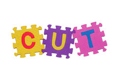 CUT. Letters-puzzle, word CUT,  isolated on white background Stock Photos