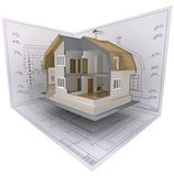 Cut. 3D isometric view the cut residential house on architect�s drawing Stock Photo