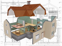 Cut. 3D isometric view the cut residential house on architect's drawing Stock Image