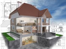 Cut. 3D isometric view of the cut residential house on architect drawing Stock Images