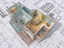 Cut. 3D isometric view of the cut residential house on architect drawing Royalty Free Stock Photography