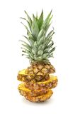 Cut ananas. Isolated on a white Stock Photo