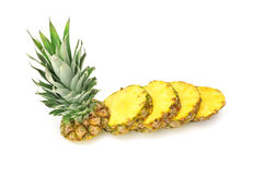 Cut ananas. On a white background Royalty Free Stock Photo