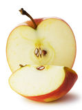 The cut apple. A detailed photo of fruit on a white background Stock Photos