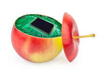Cut apple inside with electronic circuit Royalty Free Stock Image