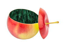 Cut apple inside with Green binary code Royalty Free Stock Photos