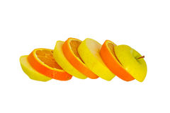 Cut apple and orange Royalty Free Stock Photos