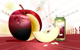 Cut Apple And Vitamins. Cut Apple And Latin Symbols Of Different Vitamins Stock Photography