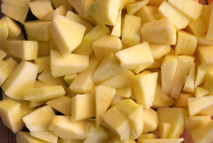 Cut apples. Small pieces of cutted apples Stock Photography