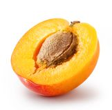Cut apricot with a bone Stock Images