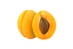 Cut apricot fruits isolated. On white background Royalty Free Stock Photo