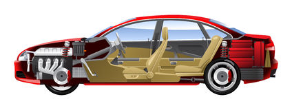 Cut-away  car. Cutaway Car Illustrations. (Simple gradients only - no gradient mesh Stock Images