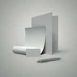 Cut-away, folder, paper and pen. Cut-away, folder, paper and silver pen Stock Image