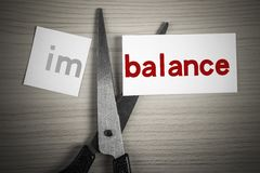 Cut balance from imbalance. A scissor is cuting balance from imbalance on the desk royalty free stock photo