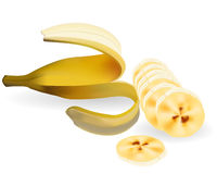 The cut banana Stock Photos