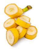 Cut banana. Heap of cut banana on white background Royalty Free Stock Photos