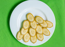 Cut bananas Stock Images