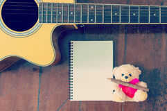 Cut bear doll with guitar Royalty Free Stock Photo