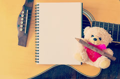 Cut bear doll with guitar Stock Images