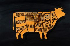 Cut of beef for Butcher shop on blackboard.  royalty free stock photography