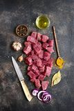 Cut beef with sea salt and spices .Top view with copy space. Royalty Free Stock Photography