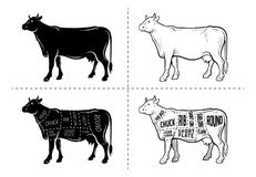 Cut of beef set. Poster Butcher diagram - Cow. Vintage typographic hand-drawn. Royalty Free Illustration