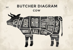 Cut of beef set. Poster Butcher diagram - Cow. Vintage typographic hand-drawn. Vector illustration. Royalty Free Stock Photo