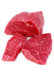 Cut of  beef steak on white. Isolated Royalty Free Stock Photo