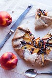 Cut biscuits with peach and blueberry. Top view Royalty Free Stock Photo