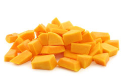 Cut blocks of  butternut pumpkin Stock Photos
