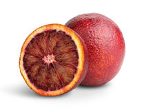 Cut Blood red orange fruit isolated on white, clipping path Stock Images