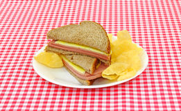 Cut Bologna And Cheese Sandwich Royalty Free Stock Image