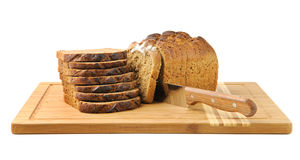 Cut bread and knife Stock Photo