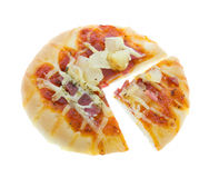 Cut bread pizza Hawaiian on white Royalty Free Stock Images
