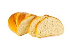 The cut bread on the white  background Royalty Free Stock Images