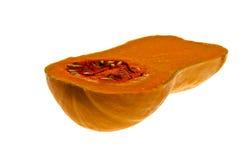 A cut butternut squash against a white background Stock Photos