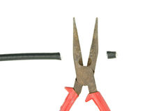 Cut cable line by old pliers for repair isolated Stock Photos